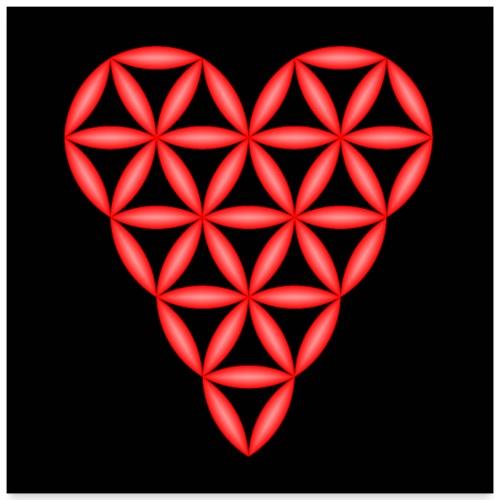 Heart of Life, Red-01, 3D - P, Dark Backg. - Poster 24x24