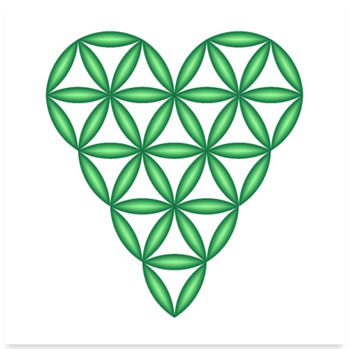 Heart of Life, Green, 3D - P, Transparent. - Poster 24x24