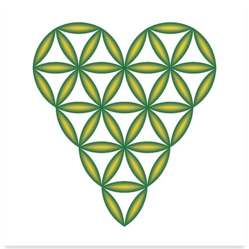 Heart of Life, Green-Oil, 3D - P, Transparent - Poster 24x24