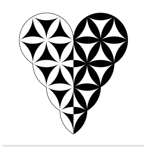 Dual Heart, Male-Female Duality. Vector image. - Poster 24x24