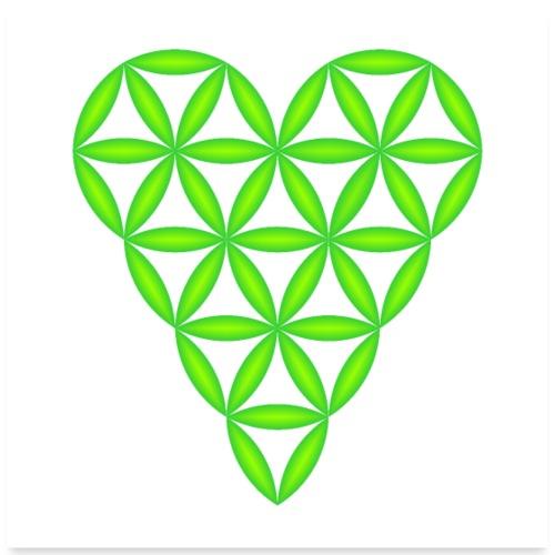 Heart of Life, Green-N, 3D - P, Transparent. - Poster 24x24