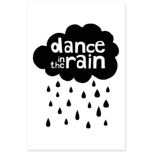 Dance In The Rain - Cloud with raindrops - Poster 8x12