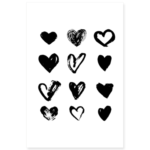 Black Hearts - Paint - Poster 8x12