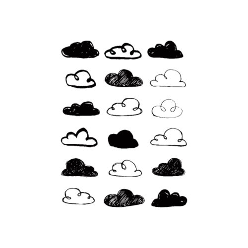 Black and White Clouds Nursery - Poster 8x12