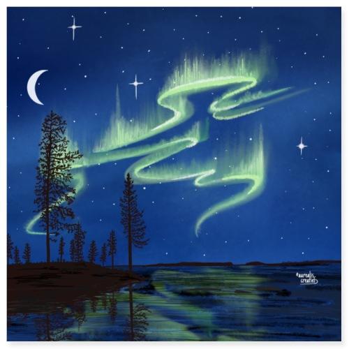 Harvest Season with Aurora Reflection - Poster 8x8