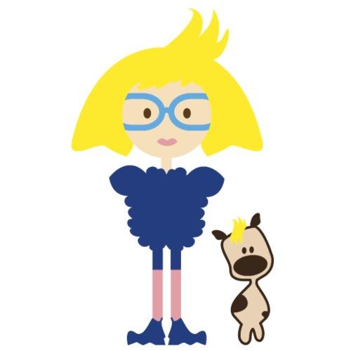 Blond Girl w/ Odd Fashion in Boots + Cute Dog - Women's Premium Organic T-Shirt