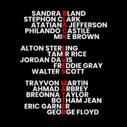 George Floyd, Eric Garner, Michael Brown, Breonna Taylor, Freddie Gray, Trayvon Martin, ...
