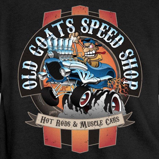 Old Goats Speed Shop Vintage Car Sign Cartoon
