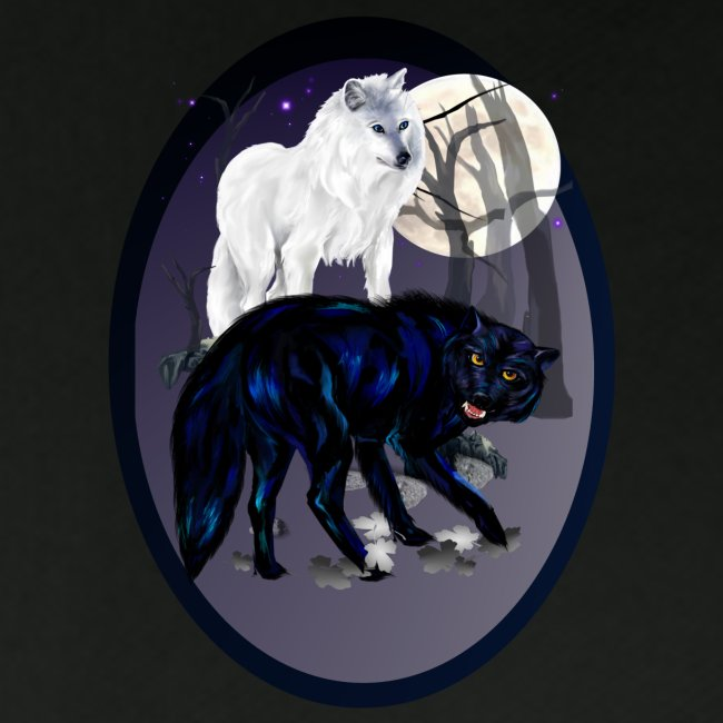 Two Wolves-oval