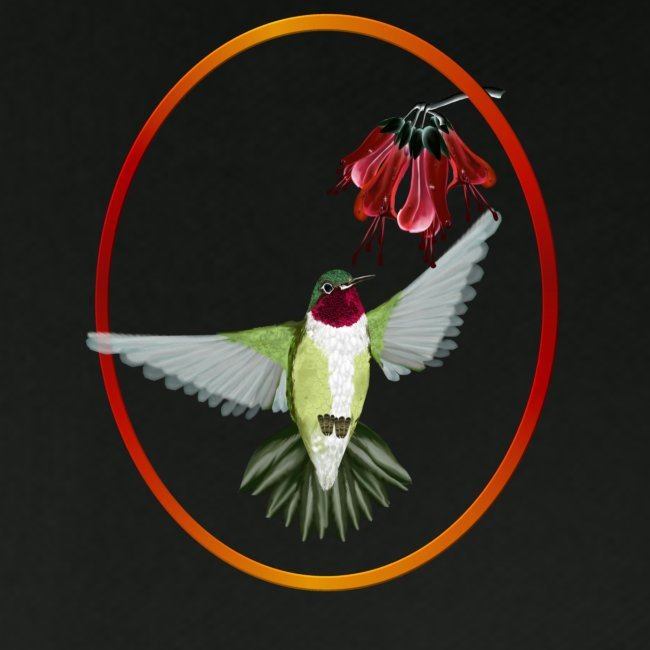 Red Throated Hummingbird Oval