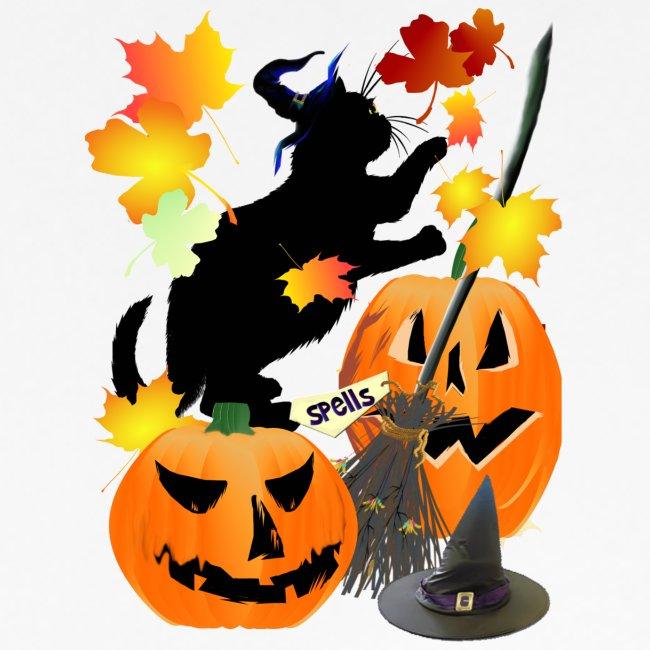 Halloween Black Kitty Batting Pretty Leaves