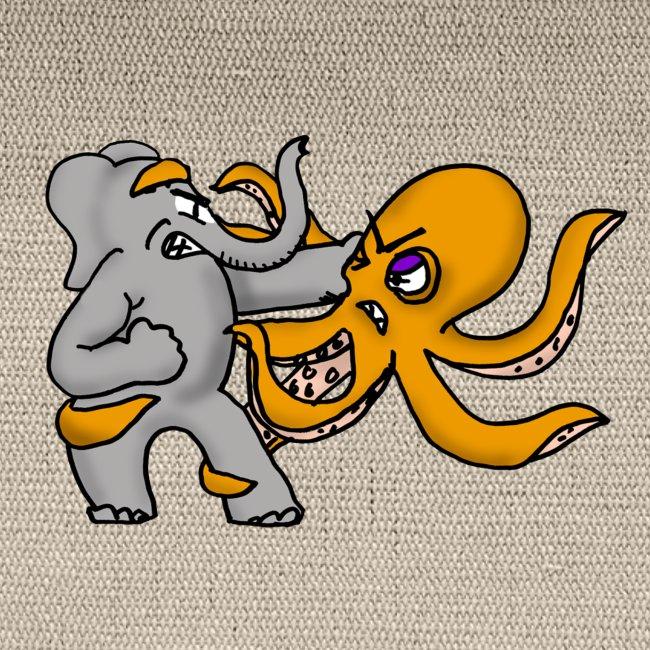 Elephant vs. Octopus Mug