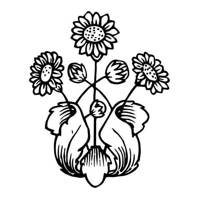 Vintage Sunflower Motif - Black Ink, White Fill