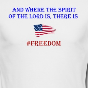 Freedom Patriotic with bible verse design - Men's Long Sleeve T-Shirt by Next Level