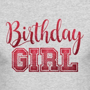 Red Glitter Birthday Girl Celebration Trendy Chic - Men's Long Sleeve T-Shirt by Next Level