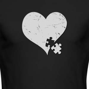 Autism Awareness Heart with Puzzle Piece - Men's Long Sleeve T-Shirt by Next Level