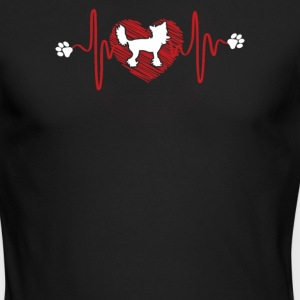 Chinese Crested Heartbeat Shirt - Men's Long Sleeve T-Shirt by Next Level