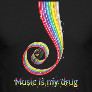 Funny Music is My Drug Tshirt, Music Lovers Gifts - Men's Long Sleeve T-Shirt by Next Level