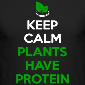 Keep Calm Plants Have Protein Vegetarian T Shirt - Men's Long Sleeve T-Shirt by Next Level