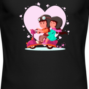 Lovely couple riding a vespa - Men's Long Sleeve T-Shirt by Next Level