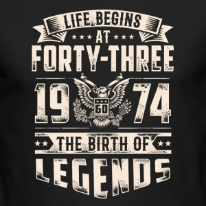 Life Begins At Forty Three Tshirt - Men's Long Sleeve T-Shirt by Next Level