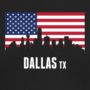 American Flag Dallas Skyline - Men's Long Sleeve T-Shirt by Next Level