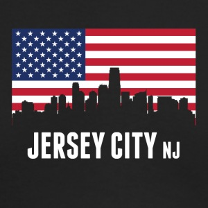 American Flag Jersey City Skyline - Men's Long Sleeve T-Shirt by Next Level