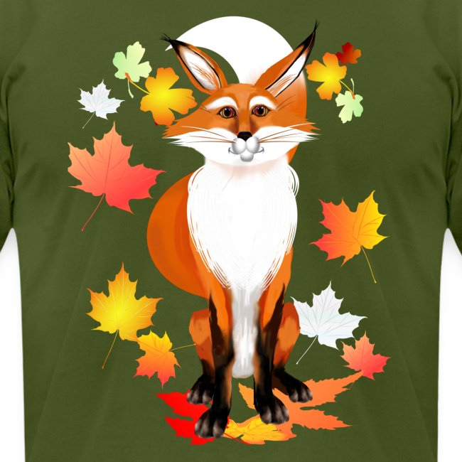 Happy Fox in Fall Leaves