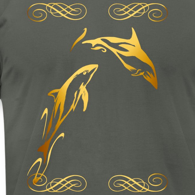 Two Gold Dolphins with frilly frames
