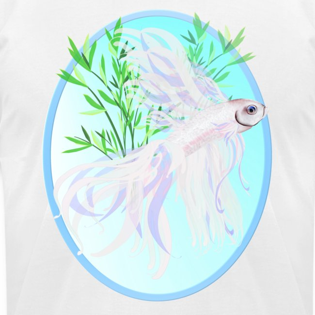 White Siamese Fighting Fish Oval