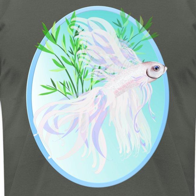 White Siamese Fighting Fish Oval