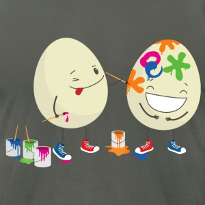 Happy Easter eggs decorating each other - Men's T-Shirt by American Apparel