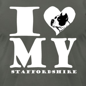 i Heart My StaffordShire Terrier Tee Shirt - Men's T-Shirt by American Apparel