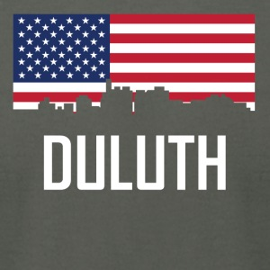 Duluth Minnesota Skyline American Flag - Men's T-Shirt by American Apparel
