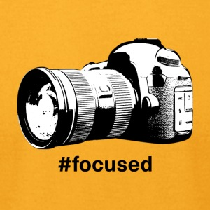 Focused - Camera Design (Black Letters) - Men's T-Shirt by American Apparel