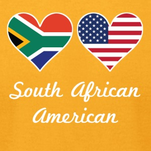 South African American Flag Hearts - Men's T-Shirt by American Apparel