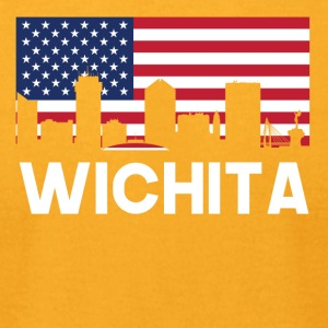 Wichita KS American Flag Skyline - Men's T-Shirt by American Apparel