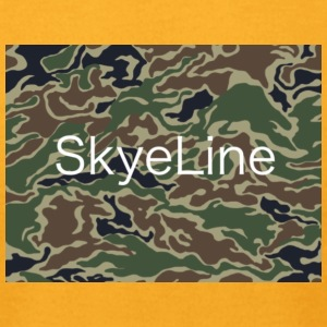 SkyeLine Green Camo and White Box Logo - Men's T-Shirt by American Apparel