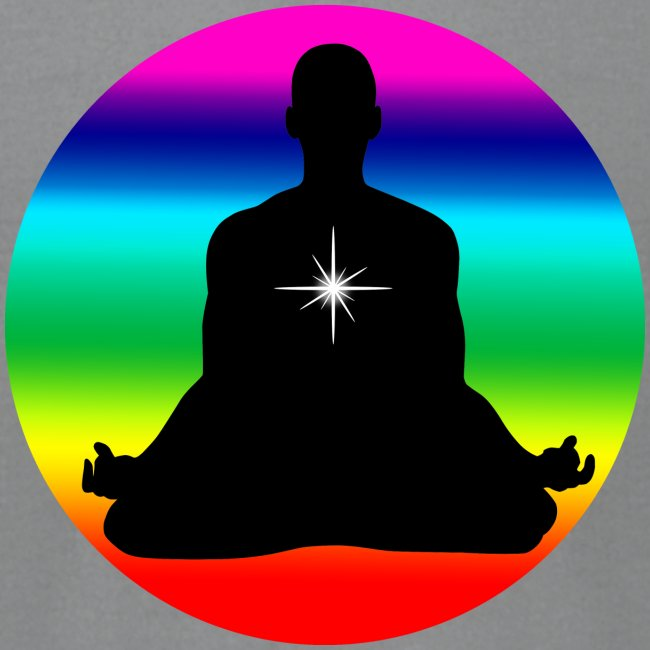 Meditation with rainbow colors