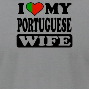 I LOVE MY PORTUGUESE WIFE - Men's T-Shirt by American Apparel