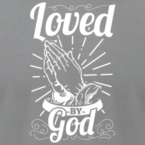 Loved By God (White Letters) - Men's T-Shirt by American Apparel