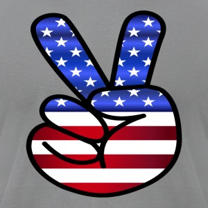 US Flag Peace Hand Sign - Men's T-Shirt by American Apparel