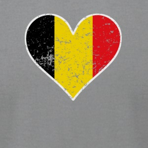Distressed Belgian Flag Heart - Men's T-Shirt by American Apparel