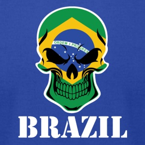 Brazilian Flag Skull Brazil - Men's T-Shirt by American Apparel