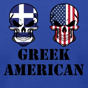 Greek American Flag Skulls - Men's T-Shirt by American Apparel