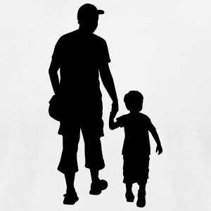son and father silhouettes - Men's T-Shirt by American Apparel