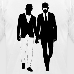 Gay men love holding hands from Bent Sentiments - Men's T-Shirt by American Apparel