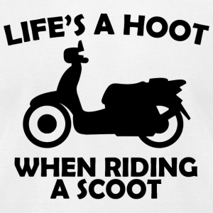 Riding - life's a hoot when riding a scoot - Men's T-Shirt by American Apparel