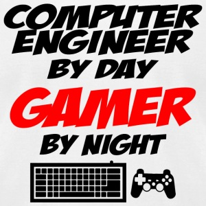 Gamer - computer engineer by day gamer by night - Men's T-Shirt by American Apparel