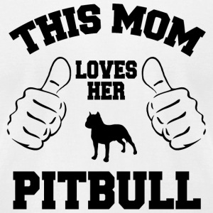 Pitbull - this mom loves her pitbull - Men's T-Shirt by American Apparel